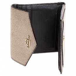 Coach Metallic Rose Gold Leather Colorblock Trifold Wallet 347301