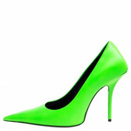 Balenciaga Green Leather Square Knife Pointed Toe Pumps Size 39 341516