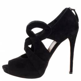 Alaia Black Suede Cut Out Ankle Boots Size 38.5 341348