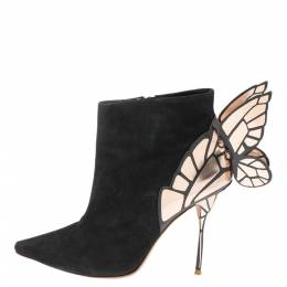 Sophia Webster Black/Rose Gold Suede Chiara Wing Ankle Boots Size 39 341506
