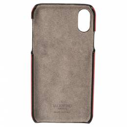 Valentino Red Leather VLOGO iPhone XS Cover 334453