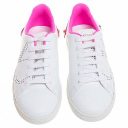 Valentino White/ Florescent Pink Leather V-Logo Sneakers Size 38 354764