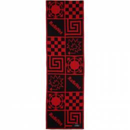 Rassvet Red and Black Wool Jacquard Scarf PACC7K001