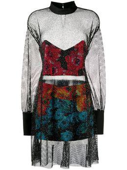 Just Cavalli полупрозрачное платье с эффектом металлик S04CT1063N39588