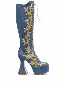 Moschino leaf embroidered high denim boots MA2610CC0BM8A