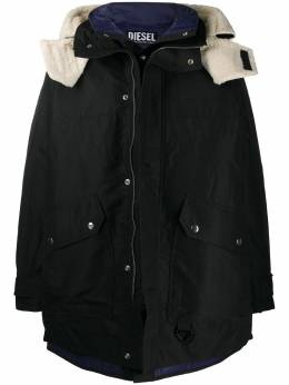 Diesel detachable-lining hooded parka A005290LAZT