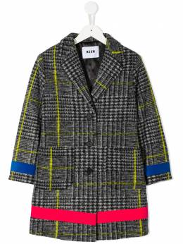 MSGM Kids TEEN houndstooth check coat 025923T