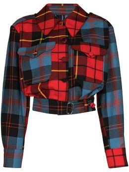 Charles Jeffrey Loverboy укороченная куртка 50th Civil Uniform в клетку CJLBROWNSCUJ