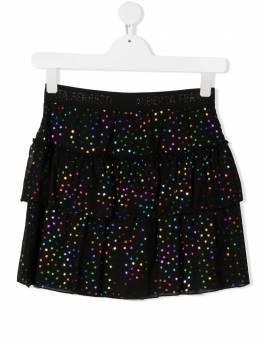 Alberta Ferretti Kids ярусная юбка из тюля с принтом 025375