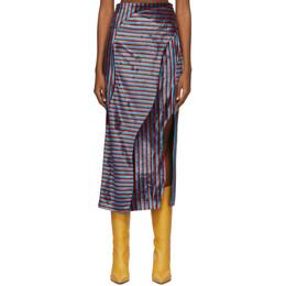 Eckhaus Latta Red and Blue Velvet Wave Skirt 953-ERL-AW20-RBM