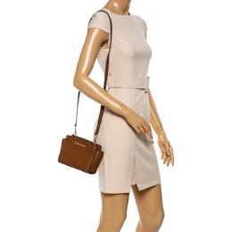 Michael Kors Brown Leather Mini Selma Crossbody Bag 347195