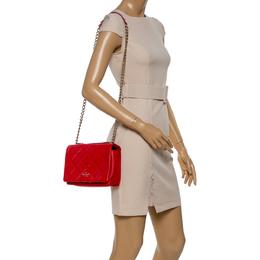 Kate Spade Red Quilted Leather Logo Flap Shoulder Bag 347152