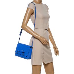 Kate Spade Blue Leather Bow Flap Shoulder Bag 347140