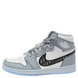 Dior x Air Jordan 1 Grey Leather Air Dior OG High Sneakers Size 42.5 347602