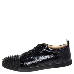 Christian Louboutin Black Shiny Python Louis Junior Spikes Sneakers Size 43.5 347534