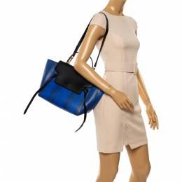 Celine Blue/Black Python and Leather Mini Belt Top Handle Bag 347475