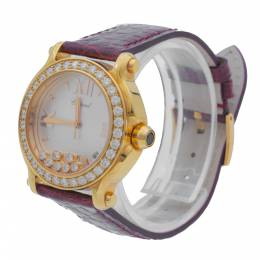 Chopard Mother of Pearl Dial Happy Sport Rose Gold Diamond Women's Watch 36 MM 348365