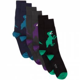 Ps by Paul Smith Three-Pack Multicolor Big Dinosaur Socks M1A-SOCK-ABIGDI-1A-0