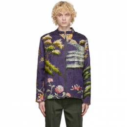 By Walid SSENSE Exclusive Purple Chinese Embroidery Classic Jacket 250013MW