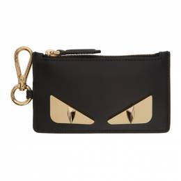 Fendi Black and Gold Bag Bugs Charm Card Holder 7AR534 SQP