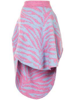 Mm6 Maison Margiela юбка с асимметричным подолом и зебровым принтом S62MA0047S17574