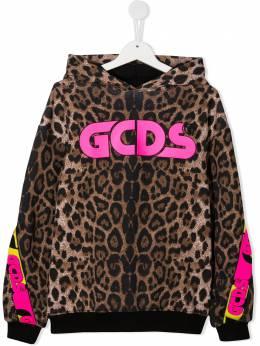 GCDS Kids худи с длинными рукавами и леопардовым принтом 026185
