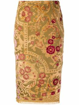 Marine Serre floral embroidered pencil skirt S054FW20WUWOTCO0005