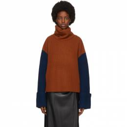 Victoria, Victoria Beckham Orange and Beige Wool Jumbo Cuff Jumper Sweater 2420KJU001818A