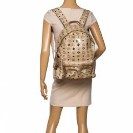 MCM Light Beige Visetos Coated Canvas and Leather Studded Stark Backpack 348376