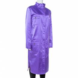 Dolce&Gabbana Purple Silk Satin Button Front Coat L 347395