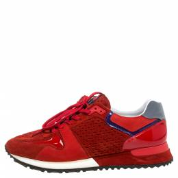 Louis Vuitton Red Perforated Suede And Patent Leather Run Away Low Top Sneakers Size 39 348124