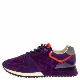 Louis Vuitton Purple Suede And Patent Leather Run Away Low Top Sneakers Size 39.5 348121