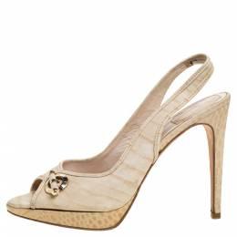 Dior Beige Croc Embossed Leather Platform Slingback Sandals Size 39.5 347148