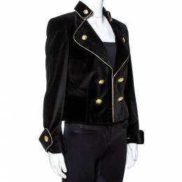 Ch Carolina Herrera Black Velvet Contrast Piping Detail Blazer M 348351
