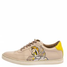Hermes Beige Pégase Pop Print Leather Quicker Low Top Sneakers Size 38 347990