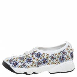 Dior White Mesh Fusion Embellished Low Top Sneakers Size 36 348253