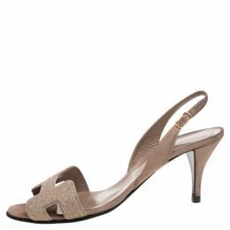 Hermes Beige Suede Night Crystal Powder Ankle Strap Sandals Size 38 347858