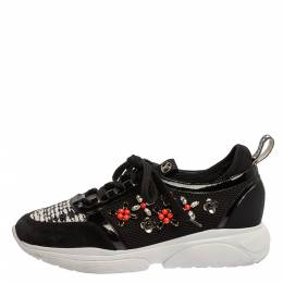 Louis Vuitton Black Patent Leather And Mesh Crystal Embellished Low Top Sneakers Size 39 348337