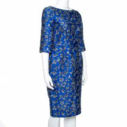 Ch Carolina Herrera Cobalt Blue Floral Jacquard Sheath Dress S 348183