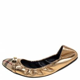 Burberry Metallic Gold/Beige Canvas And Leather Scrunch Ballet Flats Size 38 347253