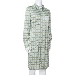Chanel Vintage Mint Green Checked Silk Shirt Dress L 347416