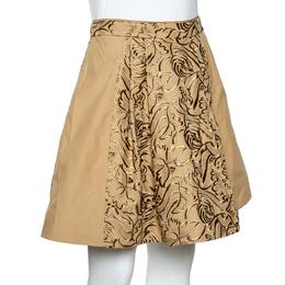 Roberto Cavalli Beige Embroidered Cotton Pleated Mini Skirt S 348305
