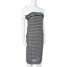 Roland Mouret Monochrome Striped Cotton Basketweave Layan Dress M 347354