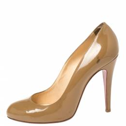 Christian Louboutin Beige Patent Leather Simple Pumps Size 38 348819