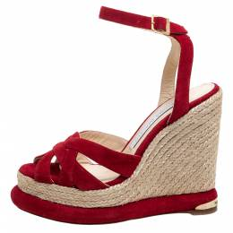Paloma Barcelo Red Suede Leather Espadrille Wedge Platform Ankle Strap Sandals Size 36.5 348361