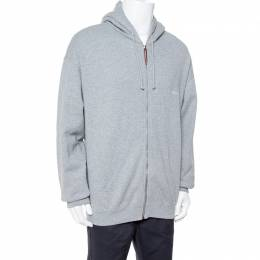 Vetements Grey Cotton Elbow Cutout Detail Zip Front Hoodie L 339997