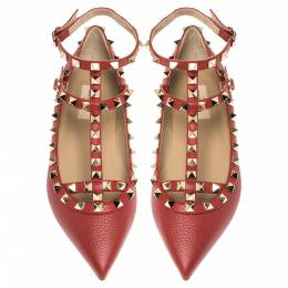 Valentino Red Leather Rockstud Embellished Ankle Strap Pointed Toe Ballet Flats Size 38.5 356046