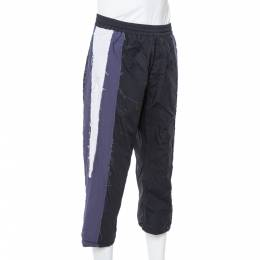 Vetements Black Cotton Raw Stripe Paneled Trousers M 340362