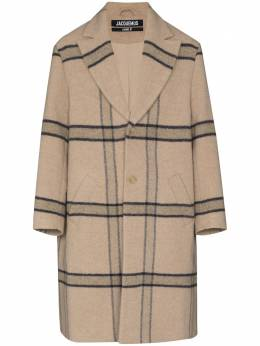 Jacquemus Le Manteau check-pattern single-breasted coat 206CO03206119172