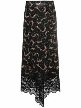 Paco Rabanne юбка с цветочным принтом и кружевным подолом 20HJJU167VI0269